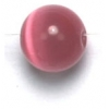 Cat Eye Beads 8mm Round Dark Pink Fibre Optic